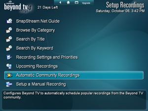 Setup Recordings Menu