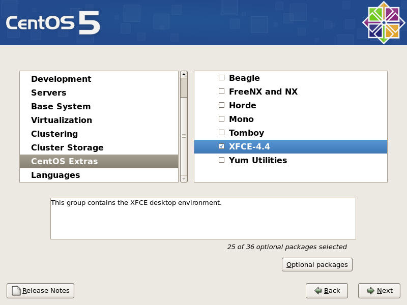 Xfce Package Selection
