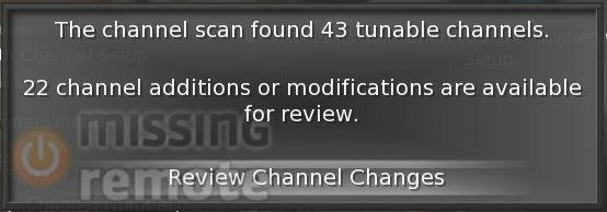 SageTV Scan Complete Channels