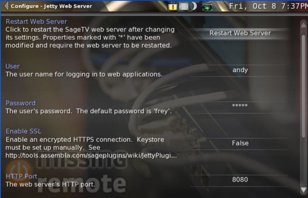 SageTV Password Setup