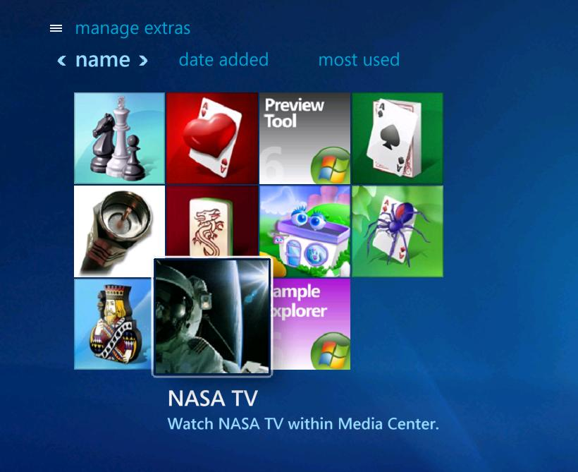 NASA TV for Media Center Screenshot