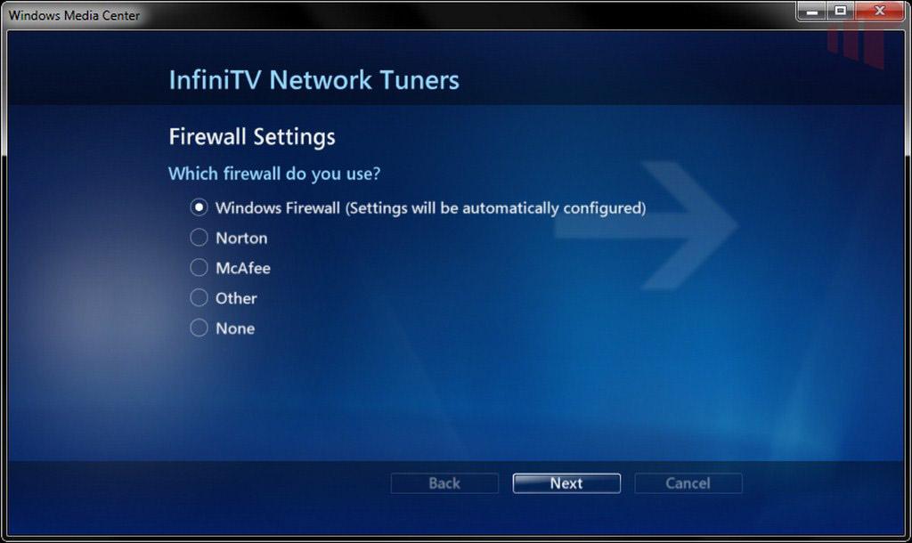 InfiniTV Network Tuner Wizard Configuration