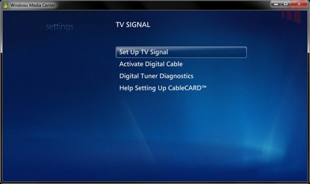 WMC TV Tuner Setup