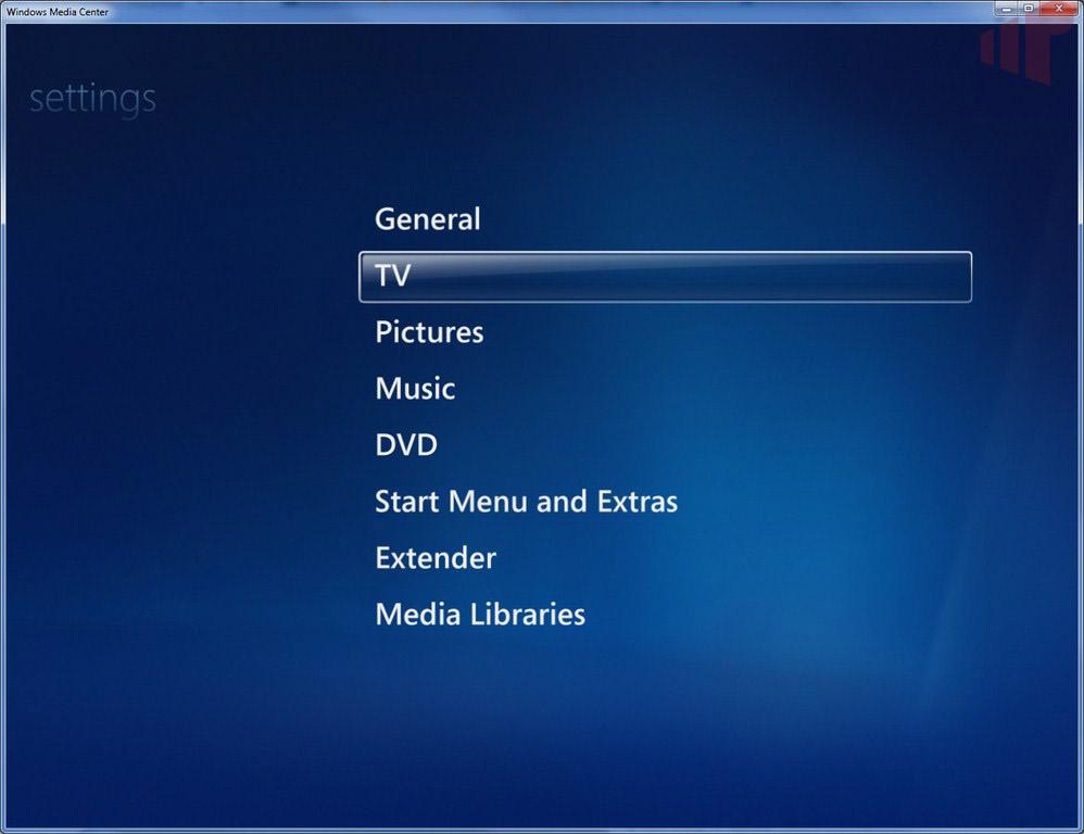 Windows Media Center Settings