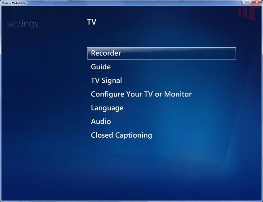 Windows Media Center Settings:TV