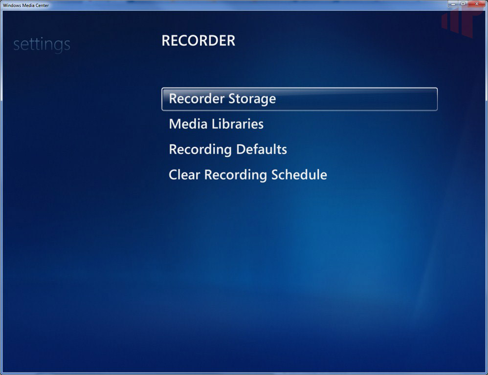 Windows Media Center Settings:TV:Recorder